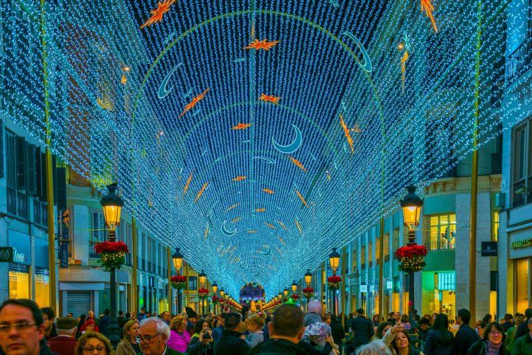 Så tennes julebelysningen i Málaga!